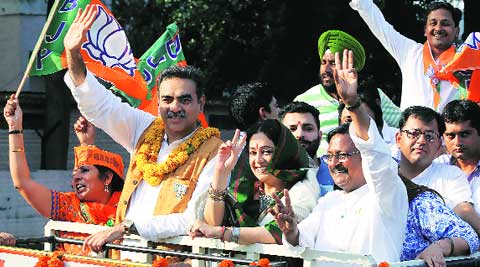 Kirron Kher during the victory procession in Chandigarh on Friday. ( Source: Express photo by Jasbir Malhi )