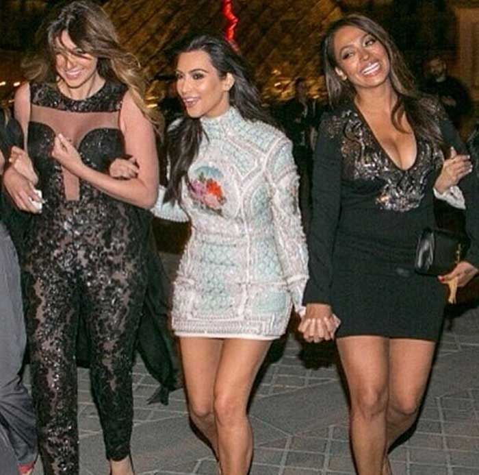 Bride-to-be Kim Kardashian enjoyed one of her last single nights by partying with close pals Britnny Gastineau, LaLa Anthony and Rachel Roy at the Eiffel Tower in Paris. (Source: Instagram)