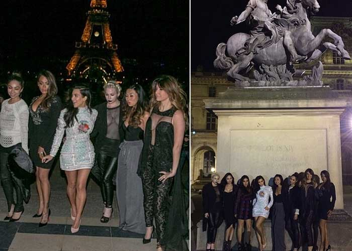 Kim Kardashian looked sexy in a white mini dress as she and her gal pals posed for pictures in beautiful Paris. (Source: Instagram)