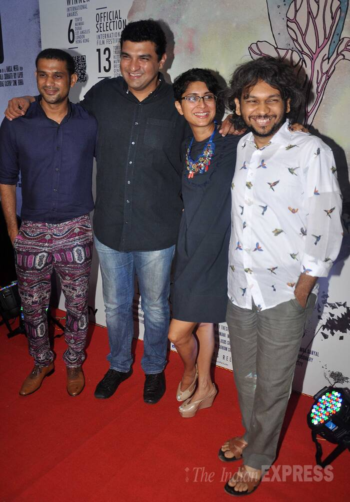 Meanwhile in Mumbai, Aamir Khan's director wife Kiran Rao partied with Vidya Balan's husband and UTV head Siddharth Roy Kapur to celebrate the success of 'Ship of Theseus'. Seen here with Siddharth and Ship Of Theseus director Anand Gandhi. ( Source: Varinder Chawla )