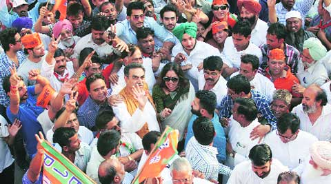 Kirron Kher with supporters outside Kamlam on Friday. ( Source: Express photo byKamleshwar Singh )