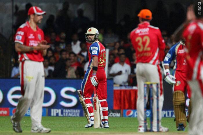 Royal Challengers Bangalore captain Virat Kohli fell for a first ball duck against Kings XI Punjab on Friday. Kohli wasn't impressed with the umpire's decision, even though he had clearly nicked the ball to the keeper. (Photo: IPL/BCCI)