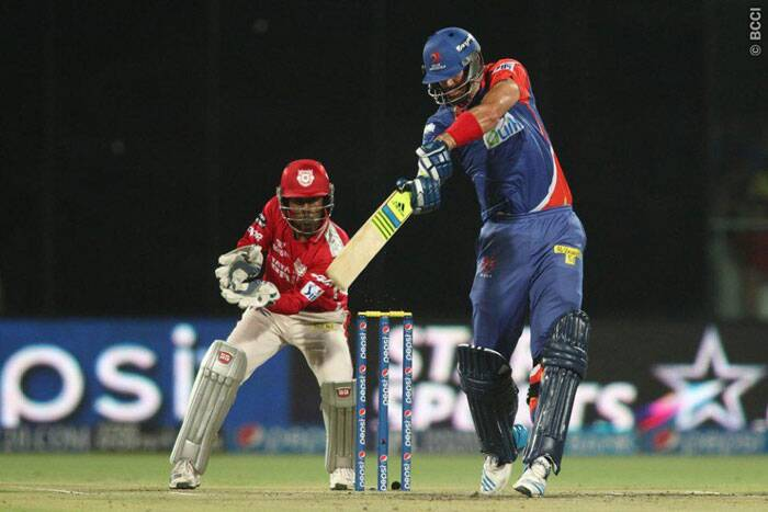 In their last match at home, Delhi Daredevils were invited to bat bat first by Kings XI Punjab. Kevin Pietersen straight away took the attack to Punjab bowlers but missed his half century by a single run. He was bowled by a peach by spinner Akshar Patel. (Photo: BCCI/IPL)