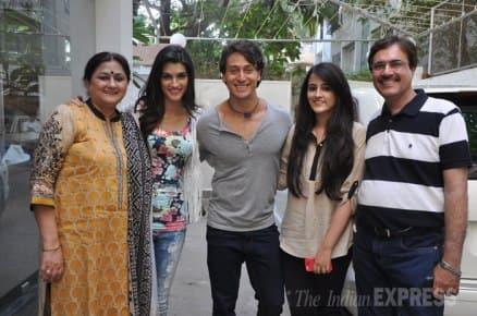 Tiger Shroff, Kriti watch their film, 'Heropanti'