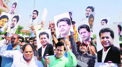 Poster Boy: Lalit Modi's supporters took to the Sawai Mansingh Stadium in Jaipur after the former IPL commissioner was announced the winner of the Rajasthan Cricket Association elections on Tuesday. PTI
