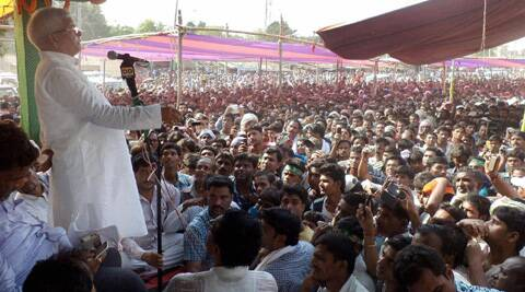 RJD chief Lalu Prasad addressing an election campaign rally in Saharsa. (Photo: PTI)