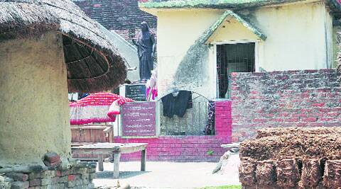 The ancestral house of Lalu Prasad with a statue of his mother Marchhia Devi at Phulwaria. (Prashant Ravi)