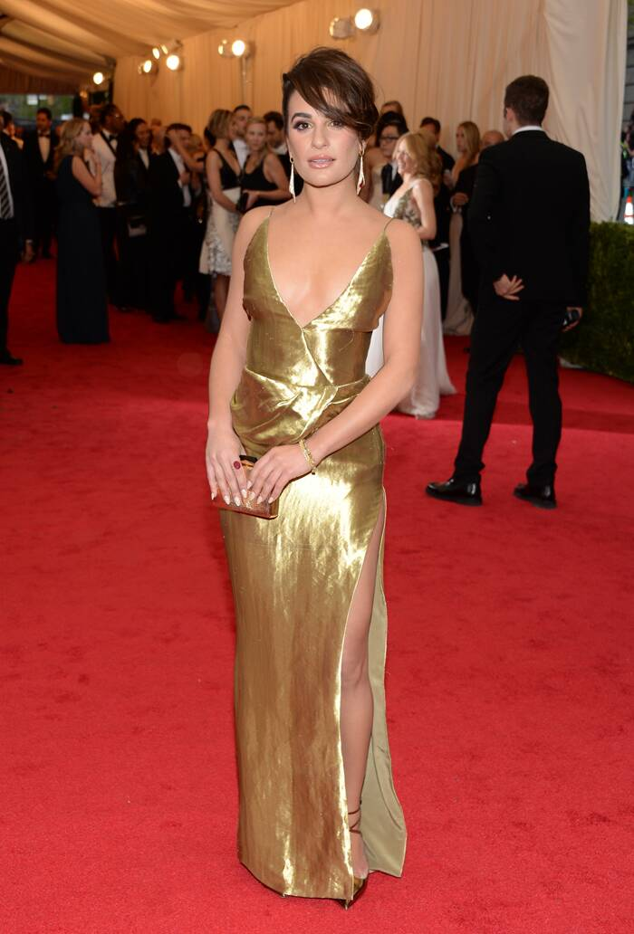 'Glee' actress Lea Michele was gorgeous in a metallic Altuzarra dress, Christian Louboutin shoes, and Lorraine Schwartz jewelry. (AP)