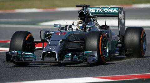 Mercedes Formula One driver Lewis Hamilton drives during the first free practice of the Spanish F1 Grand Prix in Barcelona on Friday. (Reuters)
