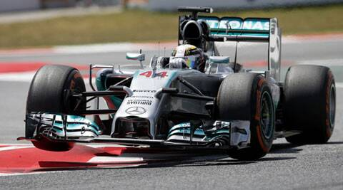 Mercedes Formula One driver Lewis Hamilton drives during the qualifying session of the Spanish Grand Prix on Saturday. Hamilton finished at pole position. (Reuters)