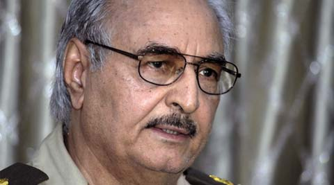 Libyan Gen. Khalifa Hifter addresses a press conference in Benghazi, Libya. (Source: AP)