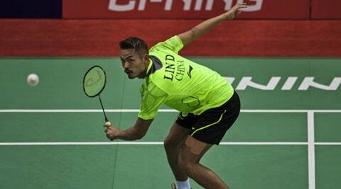 China's Lin Dan returns a shot to Taiwan's Lin Yu Hsien. Dan won  19-21, 21-13, 21-14 (AP)