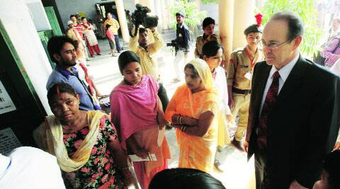 British High Commissioner Sir James Bevan at a polling booth in Lucknow on Wednesday. Vishal  Srivastav