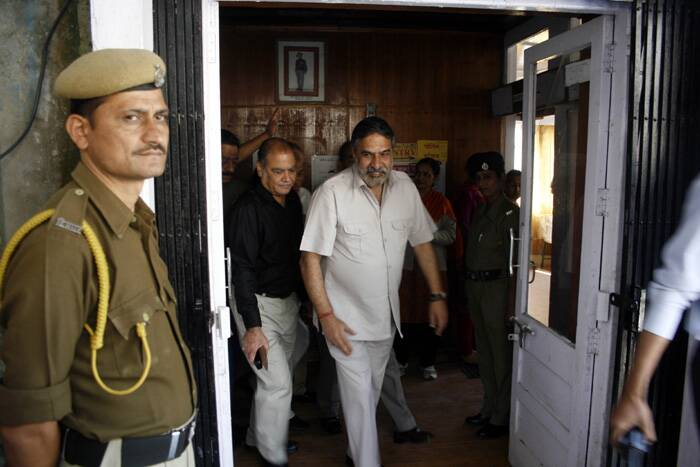 Union Minister Anand Sharma coming after casts his vote for the Lok Sabha election in Shimla on Wednesday. (Express photo by Lalit Kumar)