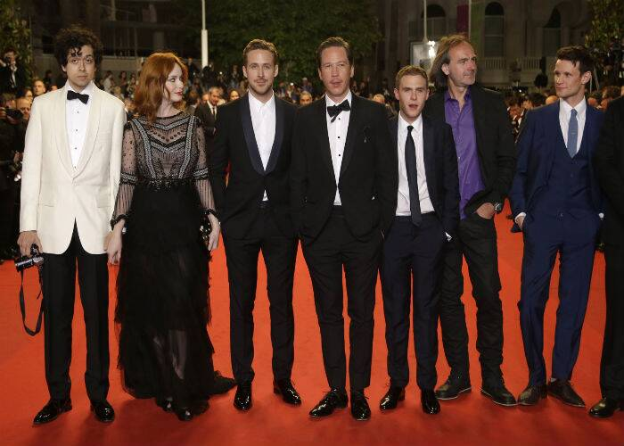 'Lost River' marks actor Ryan Gosling's directorial debut and has been produced by him as well. The cast of 'Lost River' - Matt Smith, Ben Mendelsohn, Iain De Caestecker, Reda Kateb, director Ryan Gosling, Christina Hendricks, and her partner Geoffrey Arend. (Source: AP)
