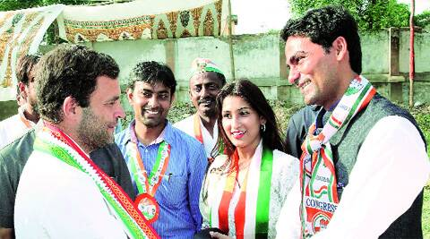 Congress vice-president Rahul Gandhi with party's Phulpur candidate Mohd Kaif during an election rally in Allahabad on Monday. PTI
