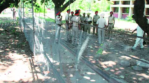 Policemen outside the  counting centres at PAU in Ludhiana on Wednesday. Gurmeet Singh