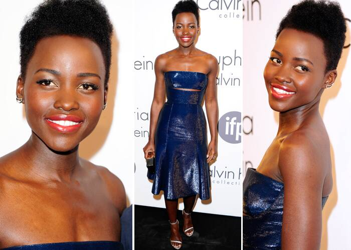 Academy award winner Lupita Nyong'o looked stunning in a metallic blue leather dress with a slashed-cutout under the chest for the IFP and Calvin Klein Women In Film Party at Cannes. (Source: AP)