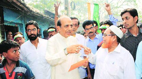 Dinesh Trivedi with voters in Barrackpore.Subham Dutta