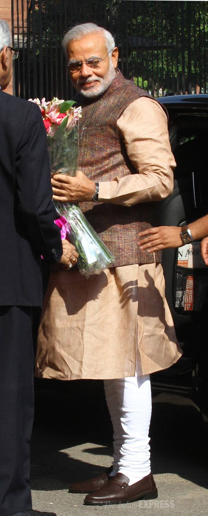 Narendra Modi was received at South block office of the PMO by newly appointed Principal Secretary Nripendra Mishra and some other officials. (Source: Express photo by Neeraj Priyadarshi)