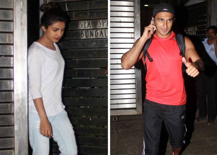 Bollywood actors Ranveer Singh, Farhan Akhtar and Priyanka Chopra were spotted late Tuesday night (May 13) in suburban Mumbai, after what clearly looked like a meeting before their next film, 'Dil Dhadakne Do' goes on floors. (Source: Photo by Varinder Chawla)