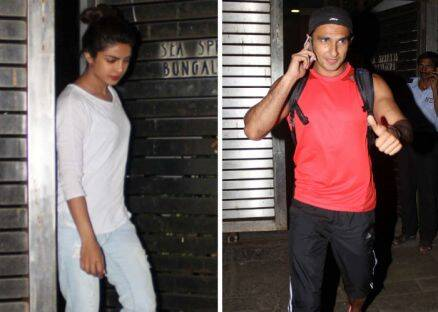 Onscreen siblings Ranveer, Priyanka catch up before film shoot