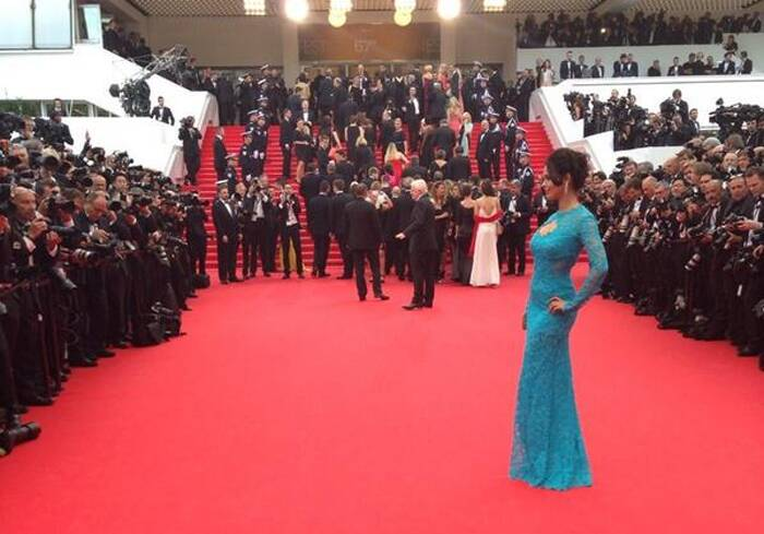Mallika Sherawat chose a more demure look this year on the red carpet, unlike her previous outrageous outfits. <br /><br /> Seen here, Mallika seems to be enjoying the attention as she poses on the red carpet as she arrives for the opening ceremony of the 67th Cannes Film Festival and the screening of the 'Grace of Monaco'. (Source: Twitter))