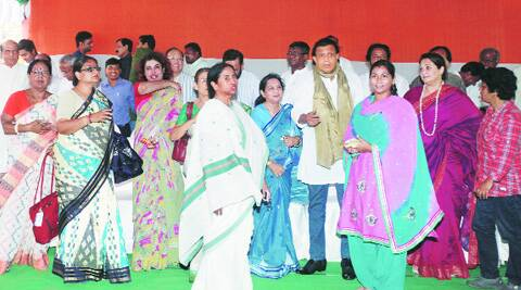 Chief Minister Mamata Banerjee at a meeting of party's winning candidates in Kolkata on Saturday. ( Source: Express photo by Subham Dutta )