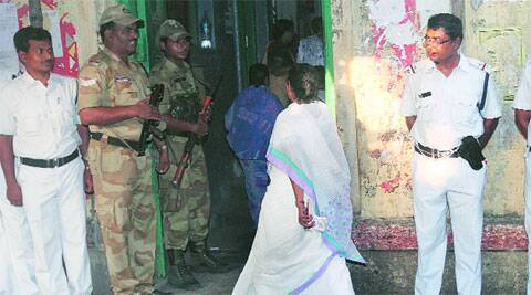 Mamata arrives to cast her vote at a South Kolkata booth, Monday.  ( Express photo by Partha Paul )
