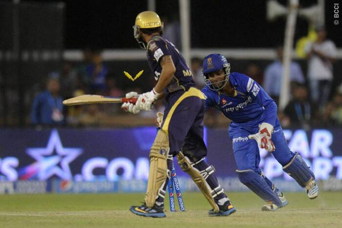 Manish Pandey was stumped by Sanju Samson off Pravin Tambe's bowling who took the first hattrick of this edition of IPL. (Photo: BCCI/IPL)