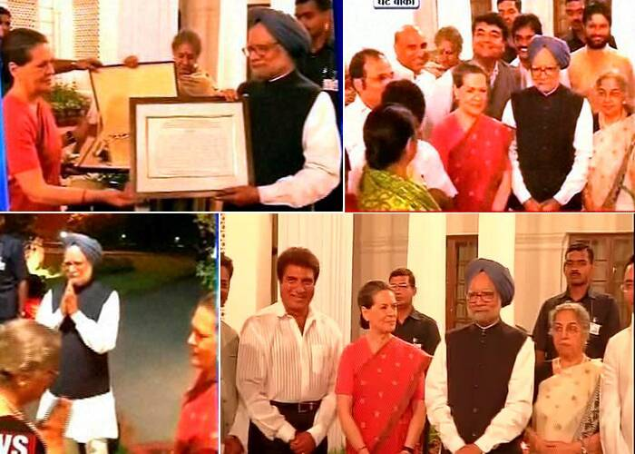 Prime Minister Manmohan Singh, who leaves office this week, was  given a warm farewell dinner by Congress President Sonia Gandhi which was attended by a galaxy of party leaders and Union ministers. The function at 10, Janpath was held as a mark of gratitude by the party whose coalition government the 81-year-old Singh led for 10 long years. (Video grab)