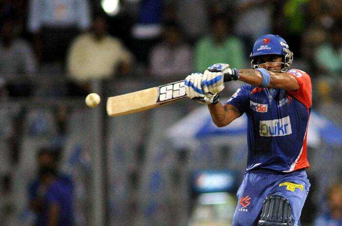 When the top-order floundered against Mumbai Indians' clinical bowling, Manoj Tiwary switched gears and played a handy knock of 41 runs, but failed to steer his team towards victory. (Source: Express Photo by Kevin D'Souza)