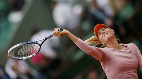 Maria Sharapova of Russia serves to Ksenia Pervak during their women's singles match at the French Open in Paris on Monday. (Source: Reuters)