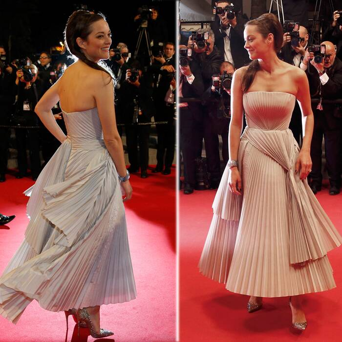 French actress Marion Cotillard on the other hand was an absolute beauty in a pale grey pleated Dior dress and sparkly Christian Louboutin shoes as she arrived for the Cannes Premiere of 'L'homme qu'on aimait trop' (In the Name of My Daughter). (Source: Reuters)