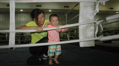 Mary Kom with her son