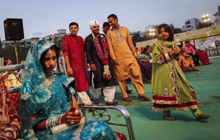 A groom arrives for a mass marriage ceremony in Mumbai. (Reuters)