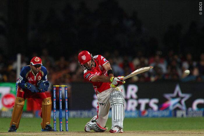 Kings XI Punjab's most successful batsman in the ongoing Pepsi IPL tournament, Glen Maxwell, couldn't make a big score against Royal Challengers Bangalore on Friday. Maxwell was dismissed by Mitchell Starc for 25 off just 11 balls.  (Photo: IPL/BCCI)