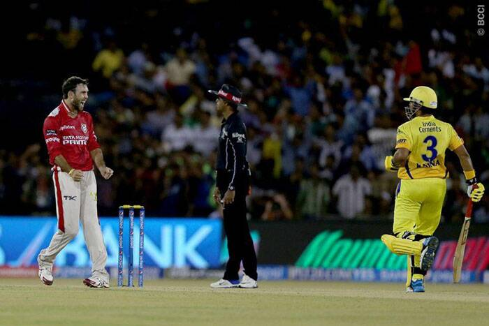 It was a lucky day for Maxwell with the ball as well. After his blistering innings he got the wicket of Suresh Raina, caught by David Miller at the long-off fence. (Photo: BCCI/IPL)