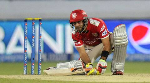 In blistering form, Maxwell continued to hit fours and sixes as KXIP reached 150 in double quick time. (IPL/BCCI)