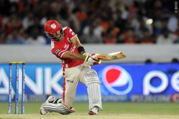 The leading run-scorer in the ongoing Pepsi IPL tournament, Kings XI Punjab's Glen Maxwell took the attack on Sunrisers Hyderabad from the word go. He fell seven runs short of a half-century when Dale Steyn took a catch at long-off to dismiss him during the 14th over of Punjab's chase.  (Photo: IPL/BCCI)