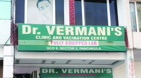 The closed clinic of Dr Lalit Vermani in Sector 2, Panchkula, on Wednesday. Jaipal Singh