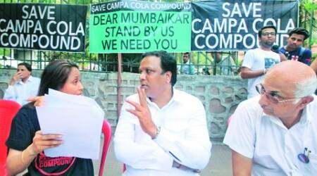 Residents of Campa Cola compound, Worli, addressed a press meet on Thursday. (Prashant Nadkar)
