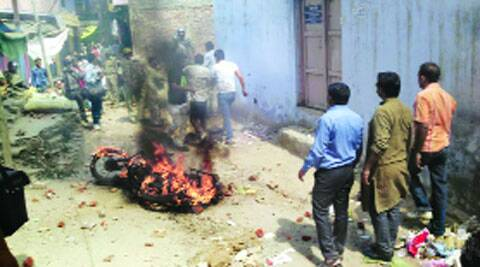 A BJP leader's bike was set ablaze in Meerut.AMIT SHARMA