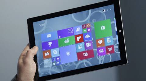 Surface Pro 3 tablet it's also thinner and faster than before.  (AP Photo/Mark Lennihan)