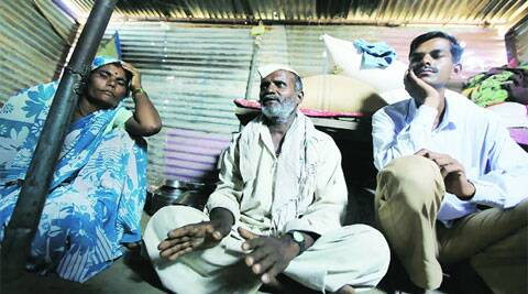 Nitin Aage's parents at their home in Kharda village.
