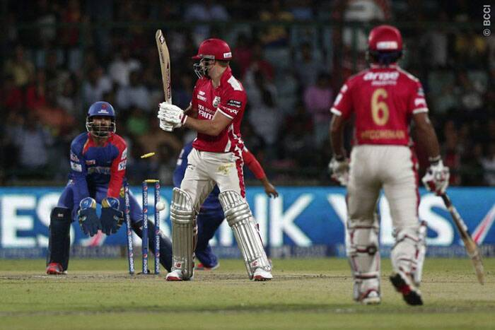 After the opening stand, Punjab lost four wickets in quick succession and were in trouble as David Miller, Virender Sehwag, Glenn Maxwell and Wriddhiman Saha were back in the hut. (Photo: BCCI/IPL)