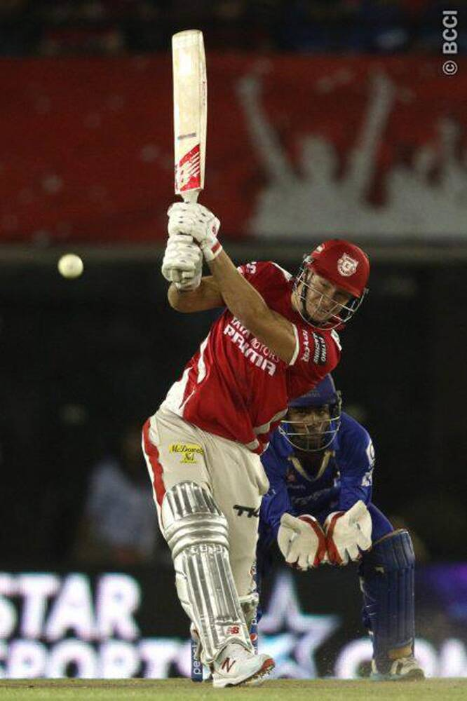 Kings XI Punjab batsman David Miller played a handy knock of 29 runs off 20 balls and scripted an important 60-run partnership with captain George Bailey to push his team to 179/4 against Rajasthan Royals. (Source: IPL/BCCI)