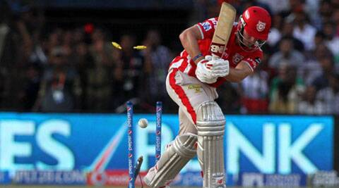 Kings XI's David Miller was clean bowled by Kolkata's Umesh Yadav during their match in Cuttack on Sunday. (IPL/BCCI)