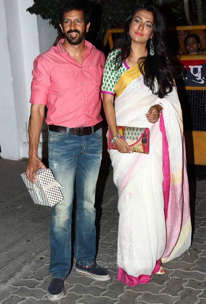 TV actress and host Mini Mathur came with her director husband Kabir Khan. Mini failed to impress in the white sari and gaudy make-up. (Source: Varinder Chawla)
