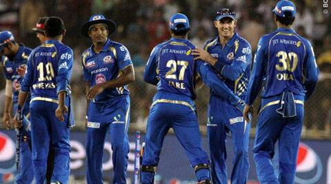Mumbai players celebrate their 25 run win over Rajasthan Royals in Ahmedabad on Monday. (BCCI/IPL)